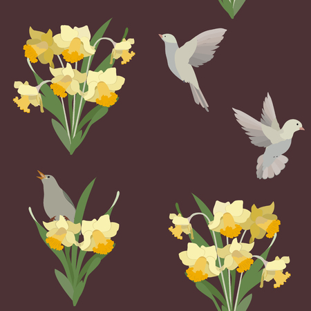 Vector seamless illustration with daffodils and birds on a dark background. For decorating textiles, packaging, web design.