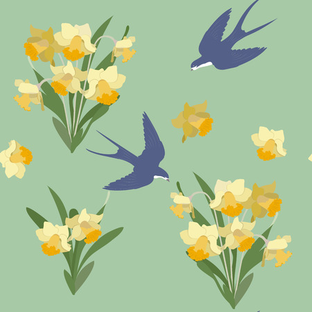 Seamless vector illustration with daffodils and swallows on a green background. For decorating textiles, packaging, web design. Stock Illustratie