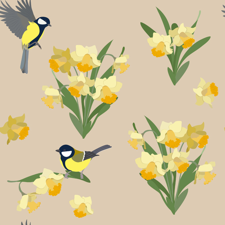 Vector seamless illustration with daffodils and birds on a beige background. For decorating textiles, packaging, web design.