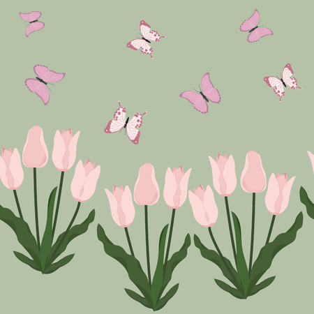 Seamless vector illustration with pink tulips and butterflies. For decorating textiles, packaging, web design.