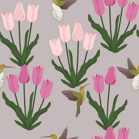 Seamless vector illustration with pink tulips and birds. For decorating textiles, packaging, web design. Stock Illustratie
