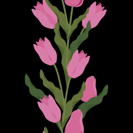 Seamless vector illustration with pink tulips on black background. For decorating textiles, packaging, web design. Vertical.