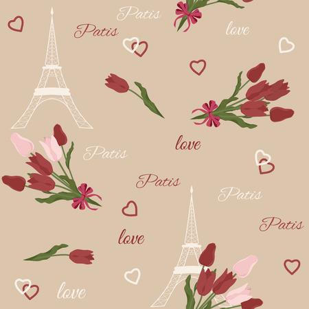 Seamless vector illustration Eiffel tower Paris pattern in vintage style with beautiful, Romantic red tulips. Perfect for travel themed postcards, greeting cards, wedding invitations. Illustration