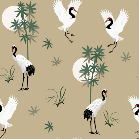Seamless vector illustration with Japanese cranes and bamboo on a beige background. For decorating textiles, packaging, wallpaper.