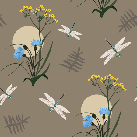 Seamless vector illustration with wildflowers, herbs and dragonflies on a brown background. For decorating textiles, packaging, web design.
