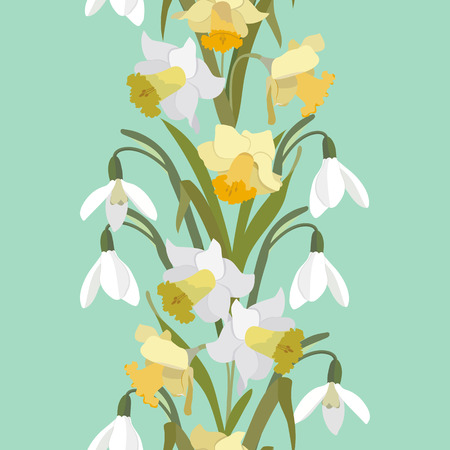 Seamless vector illustration with spring flowers daffodils and snowdrops. Vertical. For decorating textiles, packaging, covers, wallpapers.