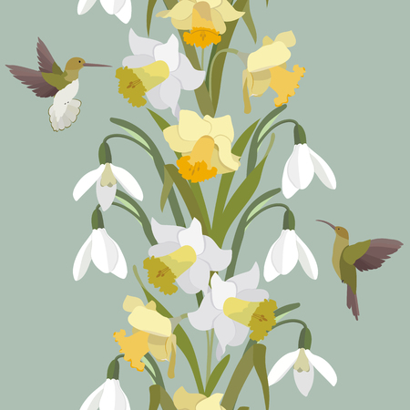 Seamless vector illustration with spring flowers daffodils, snowdrops and birds. Vertical. For decorating textiles, packaging, covers, wallpapers.