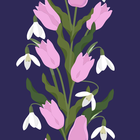 Seamless vector illustration with spring flowers tulips and snowdrops on dark background. Vertical. For decorating textiles, packaging, covers, wallpapers.