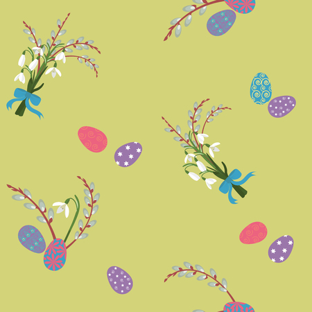 Seamless vector easter illustration with snowdrops, willow branches and eggs on yellow background. For decorating textiles, packaging, web design. Illustration