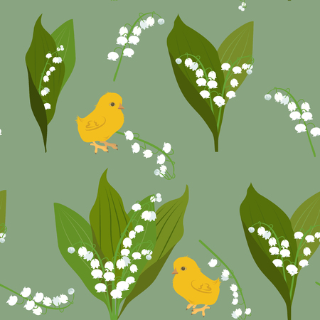 Seamless vector illustration with a lily of the valley and chickens on green background. For decorating textiles, packaging and wallpapers.
