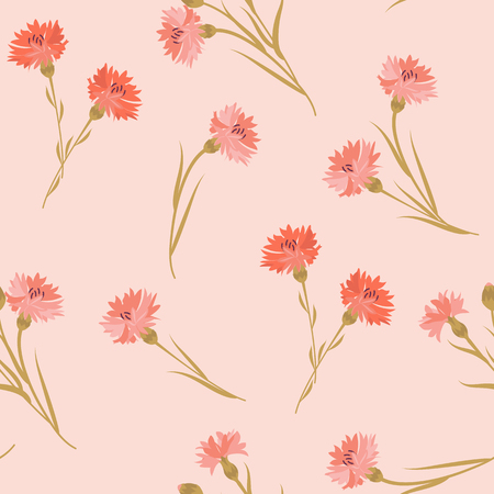 Seamless vector illustration with cornflowers on a pink background. For decorating textiles, packaging, web design.