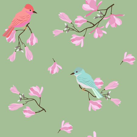 Seamless vector illustration with pink magnolia flowers and birds on a green background. For decorating textiles, packaging, wallpaper.