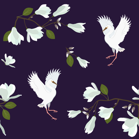 Seamless vector illustration with white magnolia flowers and birds. For decorating textiles, packaging, wallpaper.