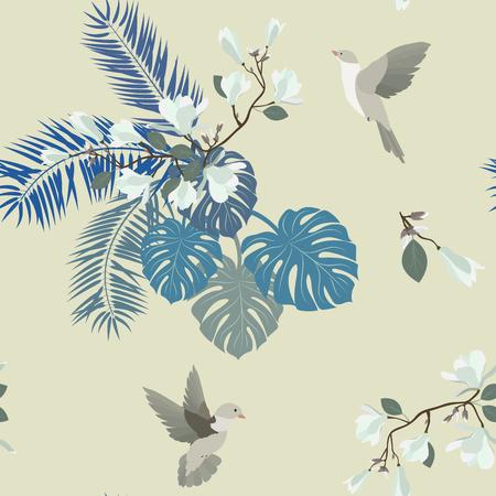 Illustration vectorielle continue avec des fleurs de magnolia blanc et des oiseaux. Pour la décoration de textiles, emballages, papiers peints.