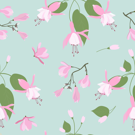 Seamless vector illustration with pink magnolia flowers and fuchsia on a turquoise background. For decorating textiles, packaging, wallpaper. Vecteurs