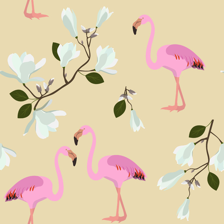 Seamless vector illustration with white magnolia flowers and birds flamingo on a beige background. For decorating textiles, packaging, wallpaper.
