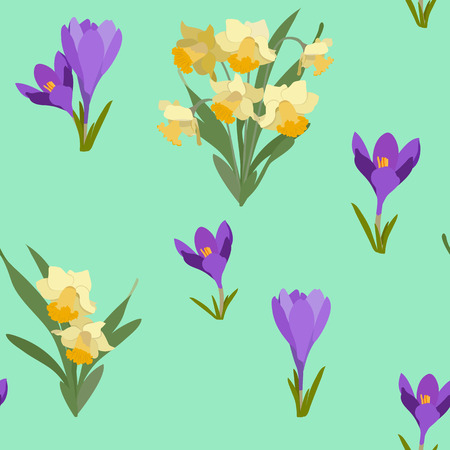 Seamless vector spring illustration with crocuses and narcissus. For decorating textiles, packaging, web design.