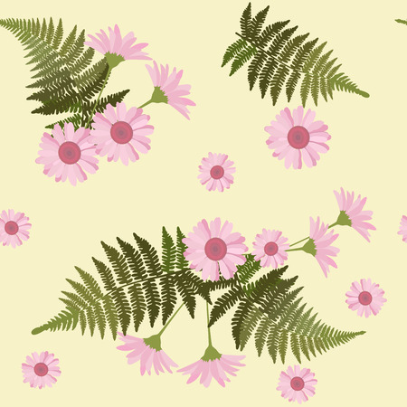 Seamless vector illustration with daisies and fern leaves on a yellow background. For decorating textiles, packaging, web design.