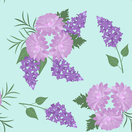 Seamless vector illustration with blooming lilac and chrysanthemum. For decorating textiles, packaging, web design.