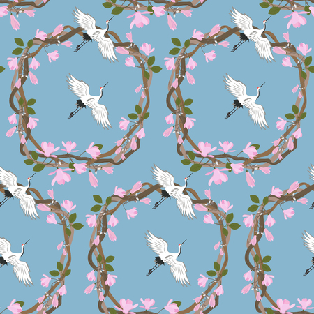 Seamless vector illustration with blooming lilac, magnolia and birds on a blue background. For decorating textiles, packaging, web design.