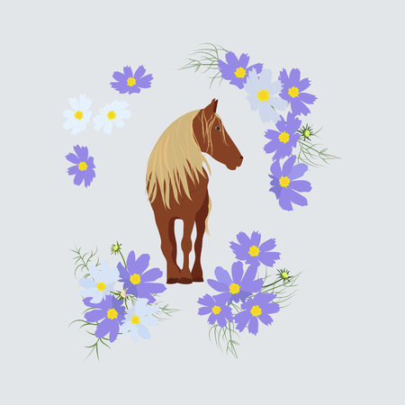 Vector isolated illustration with horse and flowers. Template for postcard, poster, web design.