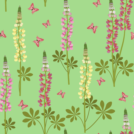 Seamless vector illustration with lupins and butterflies on a green background. For decorating textiles, packaging, web design. Vettoriali