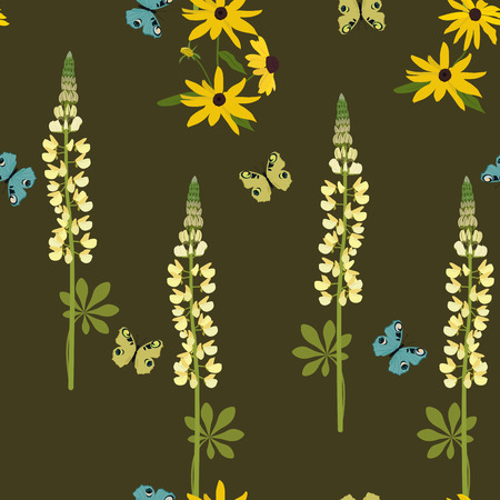 Seamless vector illustration with lupins and butterflies on a dark background. For decorating textiles, packaging, web design. Vettoriali