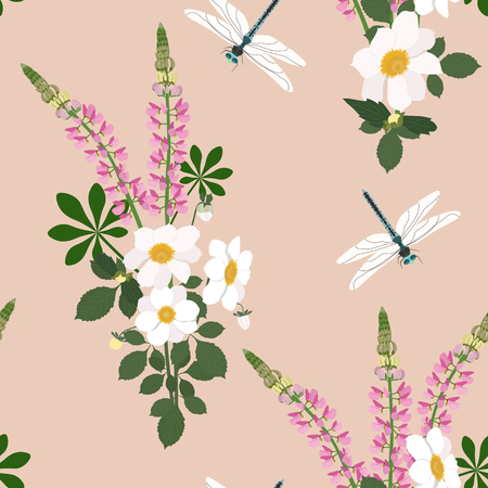 Seamless vector illustration with lupins and dragonfly on a beige background. For decorating textiles, packaging, web design. Vettoriali