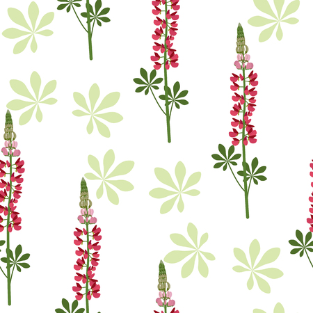 Seamless vector illustration with red lupins on white background. For decorating textiles, packaging, web design. Vettoriali