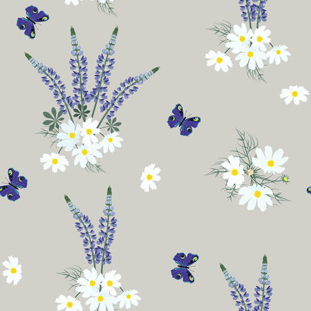 Seamless vector illustration with lupins and butterflies on a grey background. For decorating textiles, packaging, web design. Vettoriali