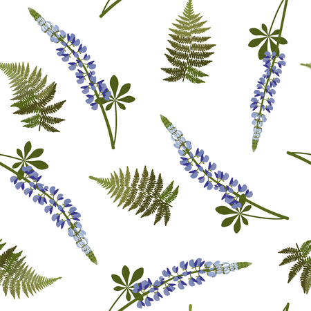 Seamless vector illustration with blue lupins on white background. For decorating textiles, packaging, web design. Vettoriali