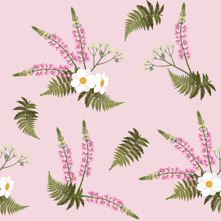 Seamless vector illustration with pink lupins, dahlias, fern on pink background. For decorating textiles, packaging, web design.
