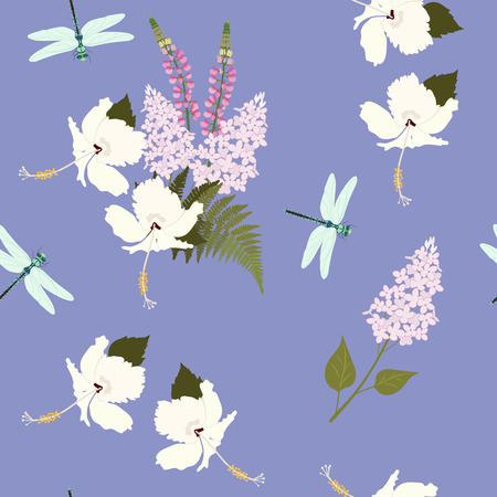 Seamless vector illustration with hibiscus, lupine flowers and dragonflies on a blue background . For decorating textiles, packaging, covers, wallpaper. Vettoriali