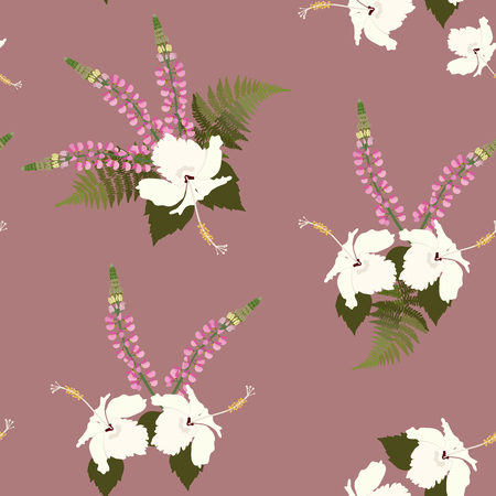 Seamless vector illustration with hibiscus and lupine flowers . For decorating textiles, packaging, covers, wallpaper.