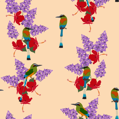 Seamless vector illustration with hibiscus, lilac flowers and exotic birds . For decorating textiles, packaging, covers, wallpaper.