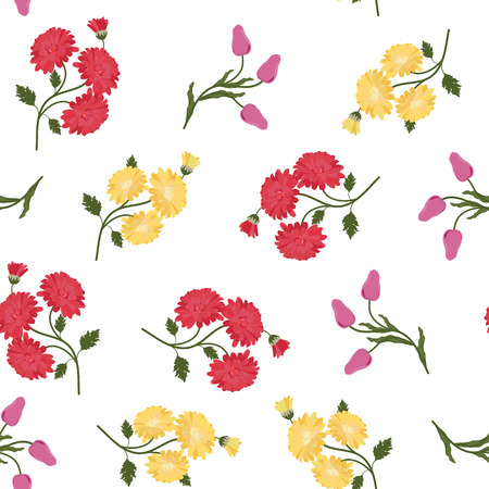 Seamless vector illustration with asters and tulips on a white background. For decorating textiles, packaging, web design.