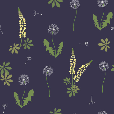 Seamless vector illustration with white dandelions and lupins on a dark background. For decorating textiles, packaging, wallpaper.  イラスト・ベクター素材