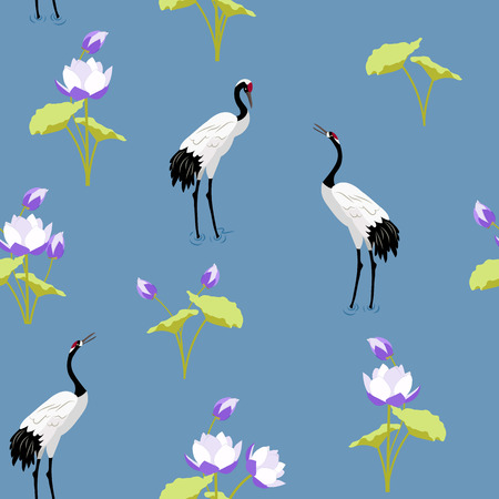 Seamless vector illustration with Japanese cranes and lotuses on a blue background. For decorating textiles, packaging, wallpaper.