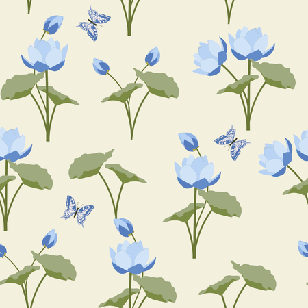 Vector seamless illustration with lotus flowers and butterflies on beige background. For decorating textiles, packaging, wallpaper.