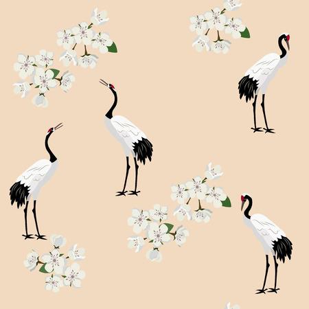 Nahtlose Vektorillustration mit Vogelkränen und Kirschblüte-Blumen auf beigem Hintergrund Zur Dekoration von Textilien, Verpackungen, Webdesign.