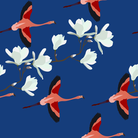Seamless vector illustration with magnolia flowers and flamingos on a blue background. For decorating textiles, packaging, wallpaper.