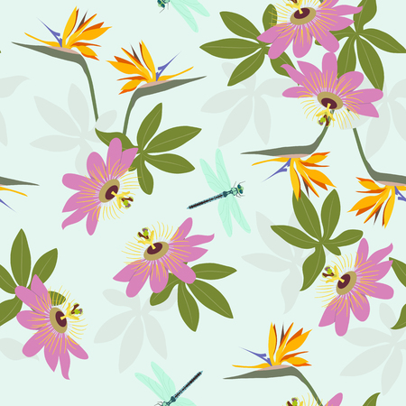 Seamless vector illustration with tropical flowers Passiflora, strelitzia and dragonfly. For decorating textiles, packaging, wallpaper.