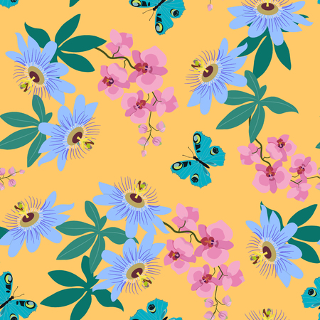 Seamless vector illustration with tropical flowers Passiflora, orchid and butterfly on yellow background. For decorating textiles, packaging, wallpaper.