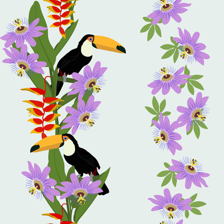 Seamless vector illustration with tropical flowers Passiflora and toucan on light background. For decorating textiles, packaging, wallpaper.