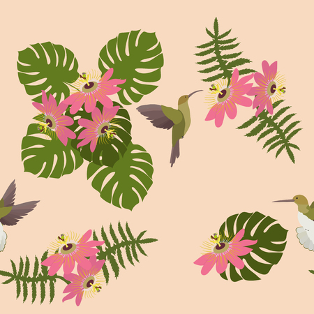 Seamless vector illustration with tropical flowers Passiflora and hummingbird on light background. For decorating textiles, packaging, wallpaper.