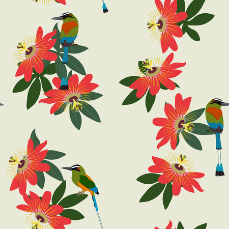 Seamless vector illustration with tropical flowers Passiflora and birds on light background. For decorating textiles, packaging, wallpaper.