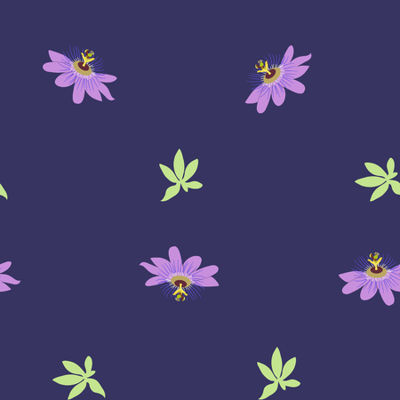 Seamless vector illustration with tropical flowers Passiflora and hibiscus on dark background. For decorating textiles, packaging, wallpaper.