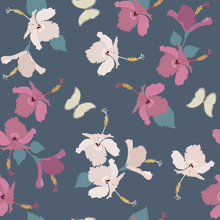 Seamless vector illustration with hibiscus flowers and butterflies on a dark background. For decorating textiles, packaging, covers.