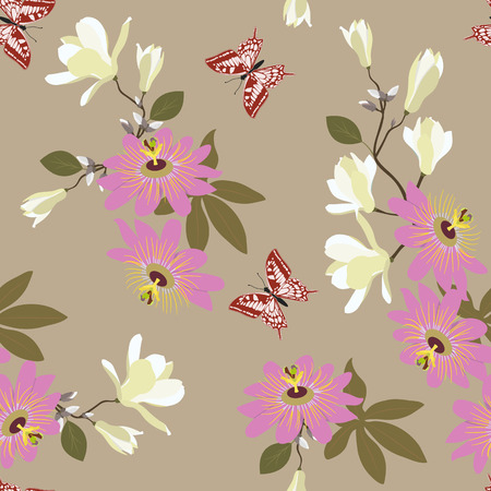 Seamless vector illustration with tropical flowers Passiflora, magnolia and butterflies. For decorating textiles, packaging, wallpaper.