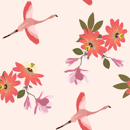 Seamless vector illustration with tropical flowers Passiflora, magnolia and flamingo. For decorating textiles, packaging, wallpaper.